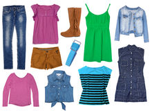 Female clothes set collage isolated. Royalty Free Stock Photos