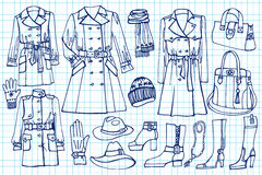 Female clothes set.Fashion wear on Sketchy Stock Photos