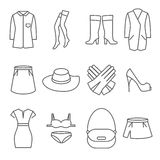 Female clothes vector line icons set Stock Photography