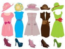 Female clothing. Vector illustration of different women's clothes Stock Photos