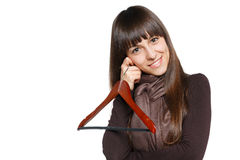 Female with clothing hanger Royalty Free Stock Photo