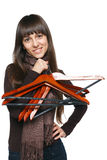 Female with clothing hangers Royalty Free Stock Image