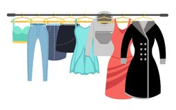 Female clothing wardrobe. Ladies colorful casual clothes hanging on rack vector illustration Stock Photography