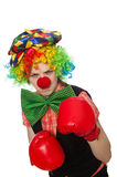 Female clown with box gloves  isolated on white Royalty Free Stock Photography