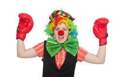 Female clown with box gloves  isolated on white Royalty Free Stock Image
