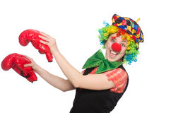 Female clown with box gloves Stock Photo