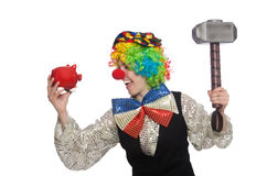 Female clown with hammer and moneybox isolated on Royalty Free Stock Photo