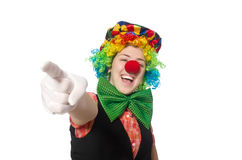 Female clown. The female clown isolated on white Stock Image