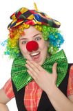 Female clown. The female clown isolated on white Stock Photos