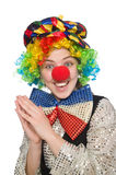 Female clown. The female clown isolated on white Royalty Free Stock Photography