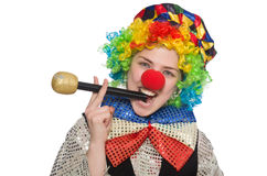 Female clown. The female clown isolated on white Royalty Free Stock Images