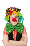 Female clown isolated on white Royalty Free Stock Images