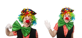 The female clown isolated on white Royalty Free Stock Images