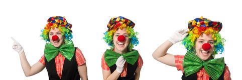 The female clown isolated on white Royalty Free Stock Image