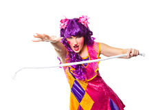 Female clown making focus with rope Royalty Free Stock Photography