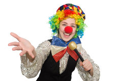 Female clown with maracas isolated on white Stock Photo