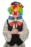 Female clown with maracas isolated on white Royalty Free Stock Photography