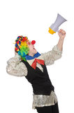 Female clown with megaphone isolated on white Royalty Free Stock Images