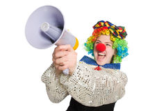 Female clown with megaphone isolated on white Stock Image
