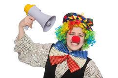 Female clown with megaphone isolated on white Stock Photos