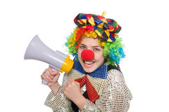 Female clown with megaphone on white Royalty Free Stock Images