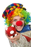 Female clown with moneybox isolated on white Royalty Free Stock Photos