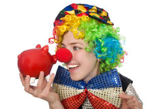 Female clown with moneybox Royalty Free Stock Photos