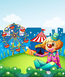 A female clown pointing the carnival. Illustration of a female clown pointing the carnival Royalty Free Stock Photos