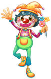 A female clown with three flowers Stock Photos