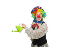Female clown with watering can isolated on white Stock Image