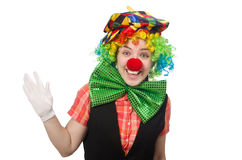 Female clown on white Royalty Free Stock Photography