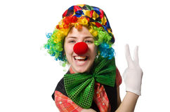 Female clown on white. The female clown isolated on white Royalty Free Stock Images