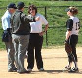 Female coach disputes a umpire call stock photos