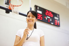 Female Coach Of High School Basketball Team Stock Photos