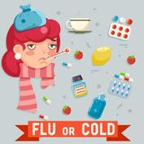 Female cold flu disease illness sickness medicine flat design vector illustration. Female cold flu disease illness sickness medicine design flat vector vector illustration
