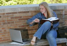 Female college student. One young woman college student studying at school Stock Images