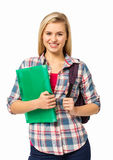Female College Student With Backpack And File Royalty Free Stock Image