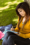 Female college student doing homework in park Royalty Free Stock Photography