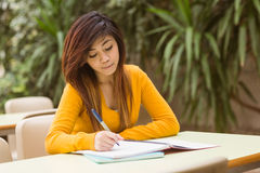 Female college student doing homework Stock Photo