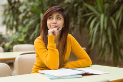 Female college student doing homework Royalty Free Stock Photos