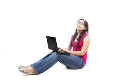 Female college student with laptop Stock Photos