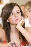 Female college student listening to a lecture Royalty Free Stock Photography