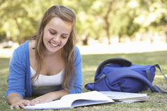 Female College Student Lying In Park Reading Textbook Stock Photo