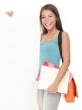 Female college student showing sign Royalty Free Stock Image