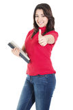 Female College Student. Stock image of happy female student carrying books with casual attire,  isolated on white background Stock Photos