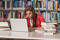 Female College Student Stressed About Her Homework Royalty Free Stock Photos