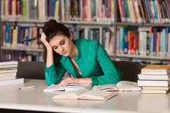 Female College Student Stressed About Her Homework Royalty Free Stock Photography