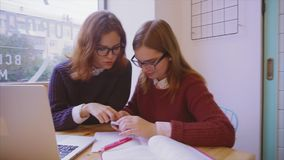 Female college students studies in the cafe two girls friends learning together. Female college students studies in the cafe. Two girls friends learning together stock footage