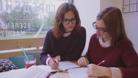 Female college students studies in the cafe two girls friends learning together. Female college students studies in the cafe. Two girls friends learning together stock video