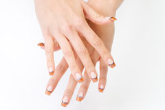 Female colored fingernails Royalty Free Stock Photo